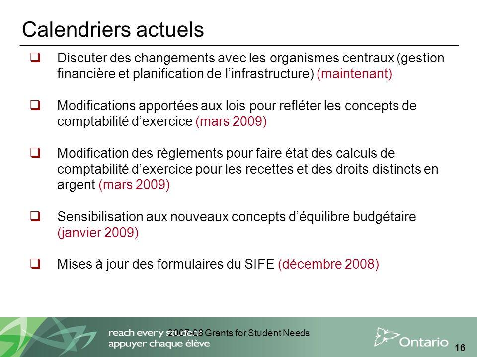 2007-08 Grants for Student Needs 16 Calendriers actuels Discuter des changements avec les organismes centraux (gestion financière et planification de