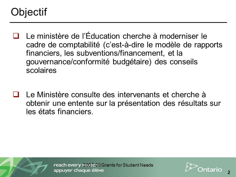 2007-08 Grants for Student Needs 2 Objectif Le ministère de lÉducation cherche à moderniser le cadre de comptabilité (cest-à-dire le modèle de rapport
