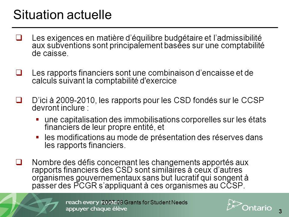 2007-08 Grants for Student Needs 3 Situation actuelle Les exigences en matière déquilibre budgétaire et ladmissibilité aux subventions sont principale