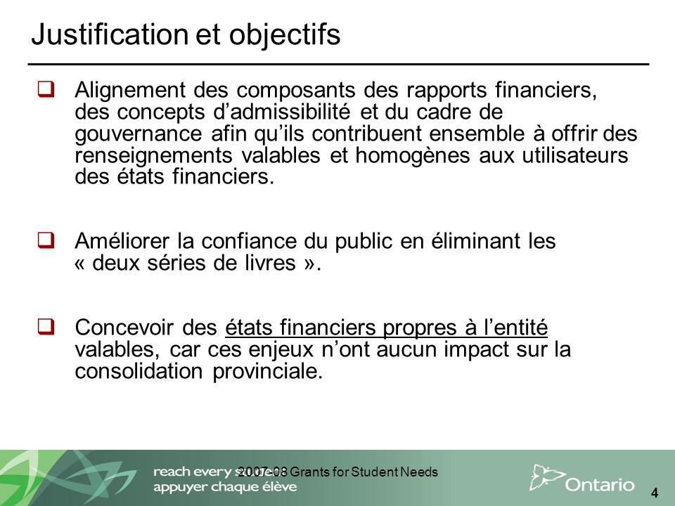 2007-08 Grants for Student Needs 4 Justification et objectifs Alignement des composants des rapports financiers, des concepts dadmissibilité et du cad