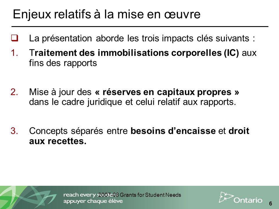 2007-08 Grants for Student Needs 6 Enjeux relatifs à la mise en œuvre La présentation aborde les trois impacts clés suivants : 1.Traitement des immobilisations corporelles (IC) aux fins des rapports 2.Mise à jour des « réserves en capitaux propres » dans le cadre juridique et celui relatif aux rapports.