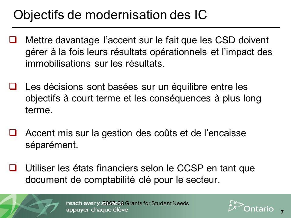 2007-08 Grants for Student Needs 7 Objectifs de modernisation des IC Mettre davantage laccent sur le fait que les CSD doivent gérer à la fois leurs ré