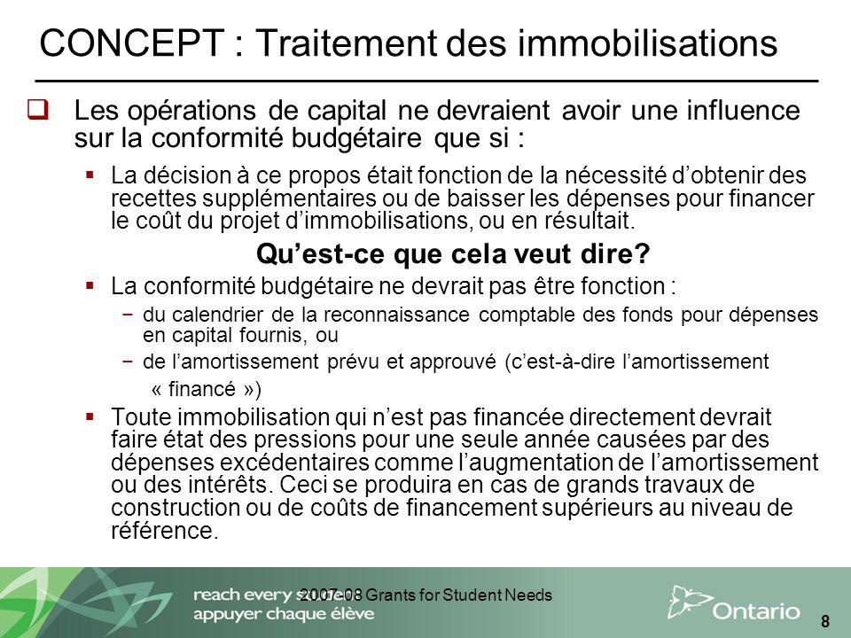 2007-08 Grants for Student Needs 8 CONCEPT : Traitement des immobilisations Les opérations de capital ne devraient avoir une influence sur la conformi