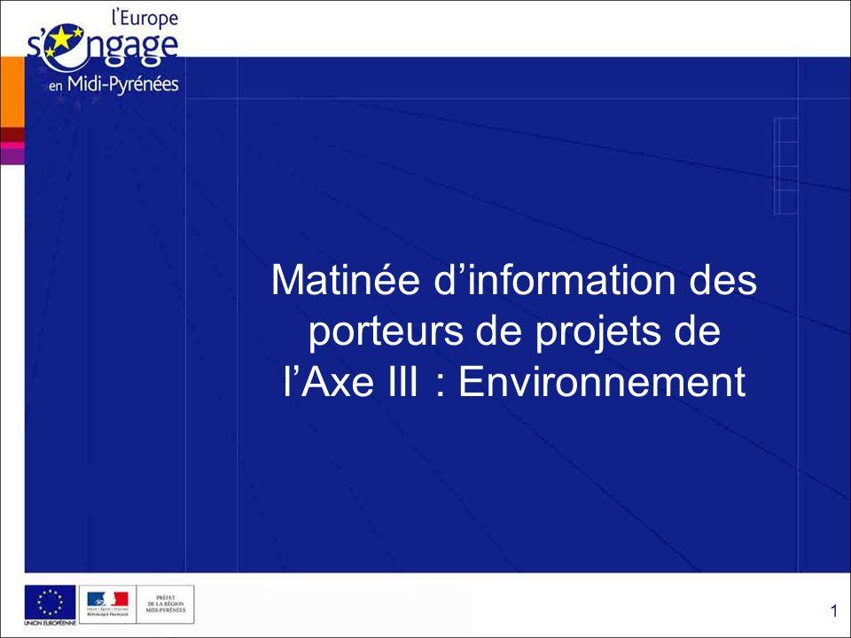 Motivation de cette matinée dinformation : I- Evolution du montant des enveloppes disponibles sur laxe III pour terminer le programme (zoom sur les mesures 3 et 5 de laxe) II- Mise en œuvre des recommandations des 2 audits 2010: -de la Commission Interministérielle de Coordination des Contrôles (janvier 2010) -de la DG Regio de la Commission européenne (fin juin 2010) =>Un travail de remaniement des documents opposables aux porteurs de projets et de certaines procédures et documents impactant les services instructeurs.
