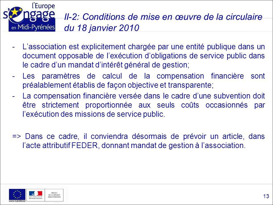II-2: Conditions de mise en œuvre de la circulaire du 18 janvier 2010 -Lassociation est explicitement chargée par une entité publique dans un document