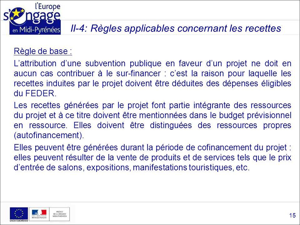 II-4: Règles applicables concernant les recettes Règle de base : Lattribution dune subvention publique en faveur dun projet ne doit en aucun cas contr