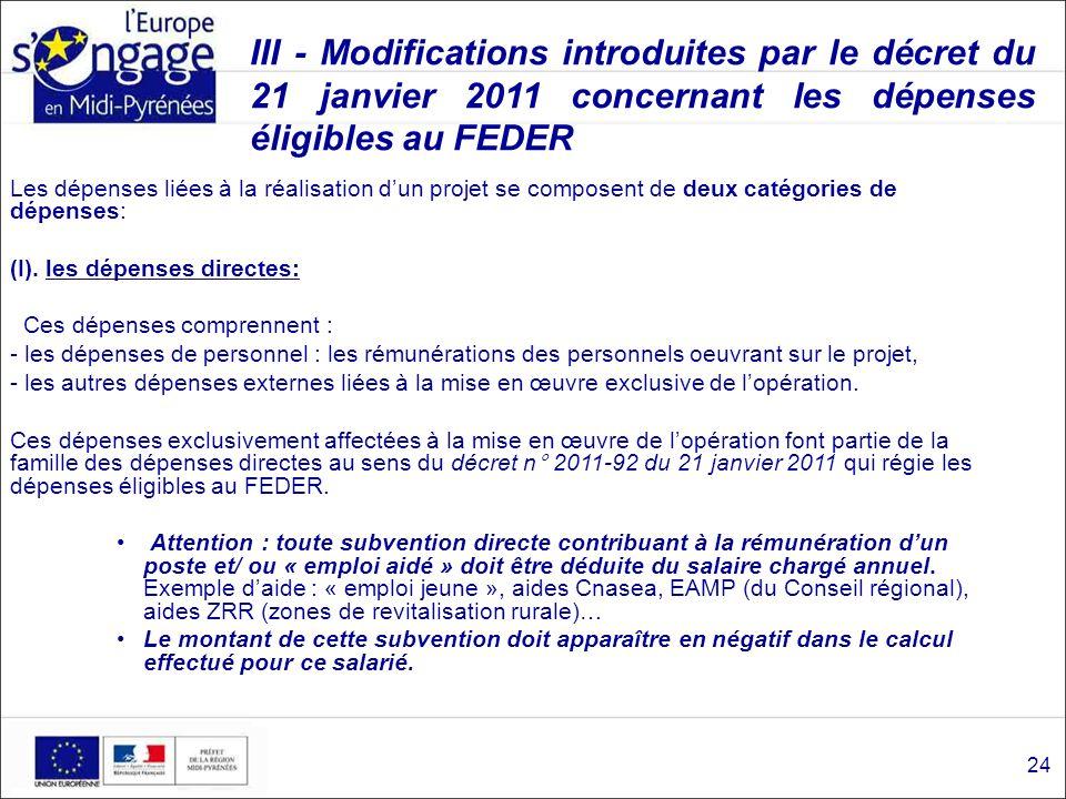 III - Modifications introduites par le décret du 21 janvier 2011 concernant les dépenses éligibles au FEDER Les dépenses liées à la réalisation dun pr