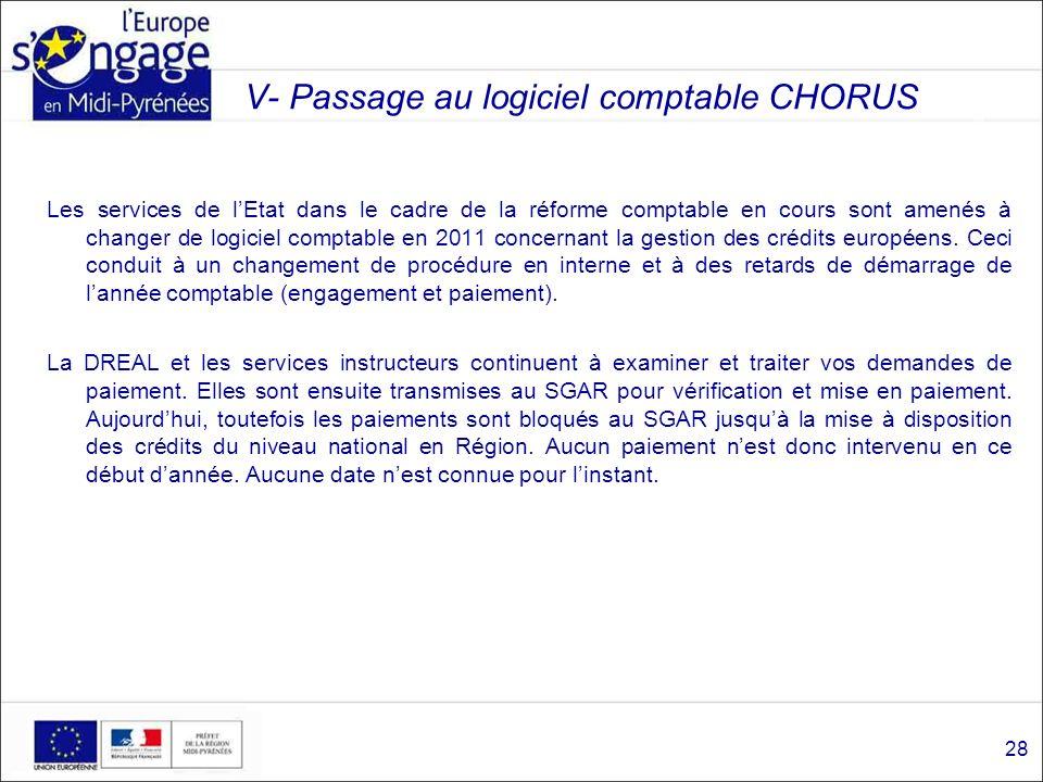 V- Passage au logiciel comptable CHORUS Les services de lEtat dans le cadre de la réforme comptable en cours sont amenés à changer de logiciel comptab