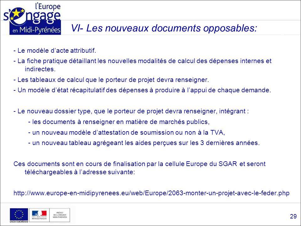 VI- Les nouveaux documents opposables: - Le modèle dacte attributif. - La fiche pratique détaillant les nouvelles modalités de calcul des dépenses int