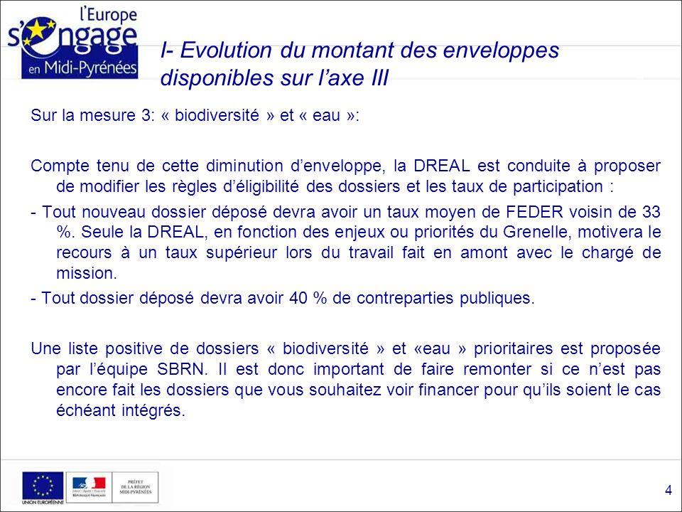 I- Évolution du montant des enveloppes disponibles sur laxe III Mesure 5: « éducation à lenvironnement » La DREAL, au titre de lexercice 2011, prévoit de ne programmer qu une enveloppe denviron 600 000 sur la totalité des demandes formulées.