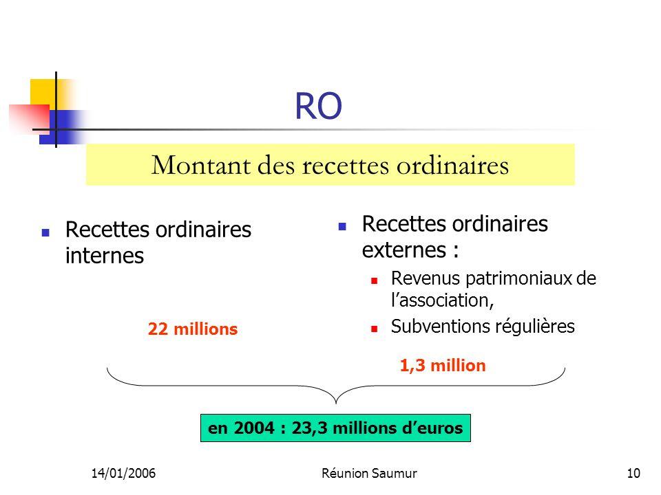 14/01/2006Réunion Saumur10 RO Recettes ordinaires internes Recettes ordinaires externes : Revenus patrimoniaux de lassociation, Subventions régulières Montant des recettes ordinaires en 2004 : 23,3 millions deuros 22 millions 1,3 million