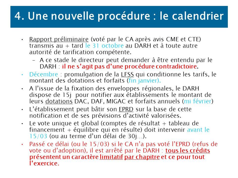 4. Une nouvelle procédure : le calendrier Rapport préliminaire (voté par le CA après avis CME et CTE) transmis au + tard le 31 octobre au DARH et à to