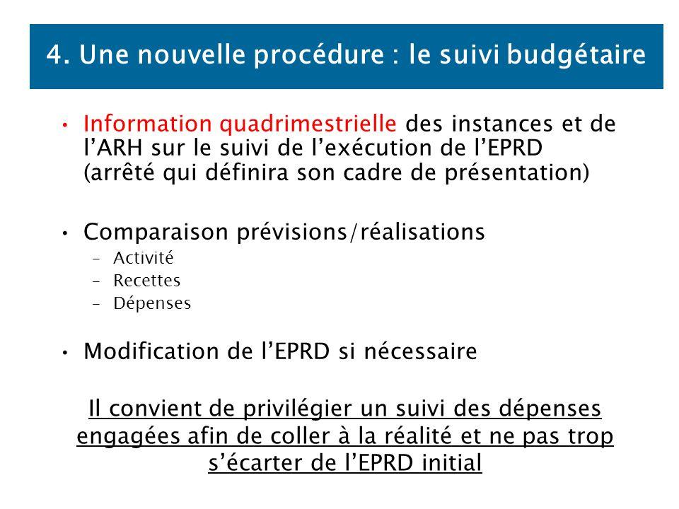 4. Une nouvelle procédure : le suivi budgétaire Information quadrimestrielle des instances et de lARH sur le suivi de lexécution de lEPRD (arrêté qui