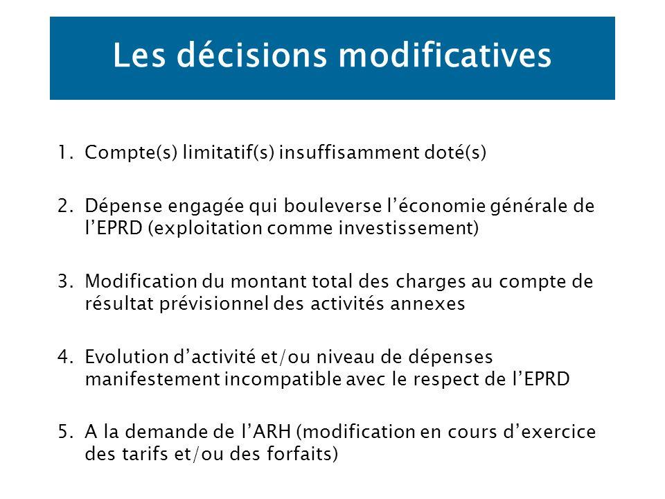 Les décisions modificatives 1.Compte(s) limitatif(s) insuffisamment doté(s) 2.Dépense engagée qui bouleverse léconomie générale de lEPRD (exploitation