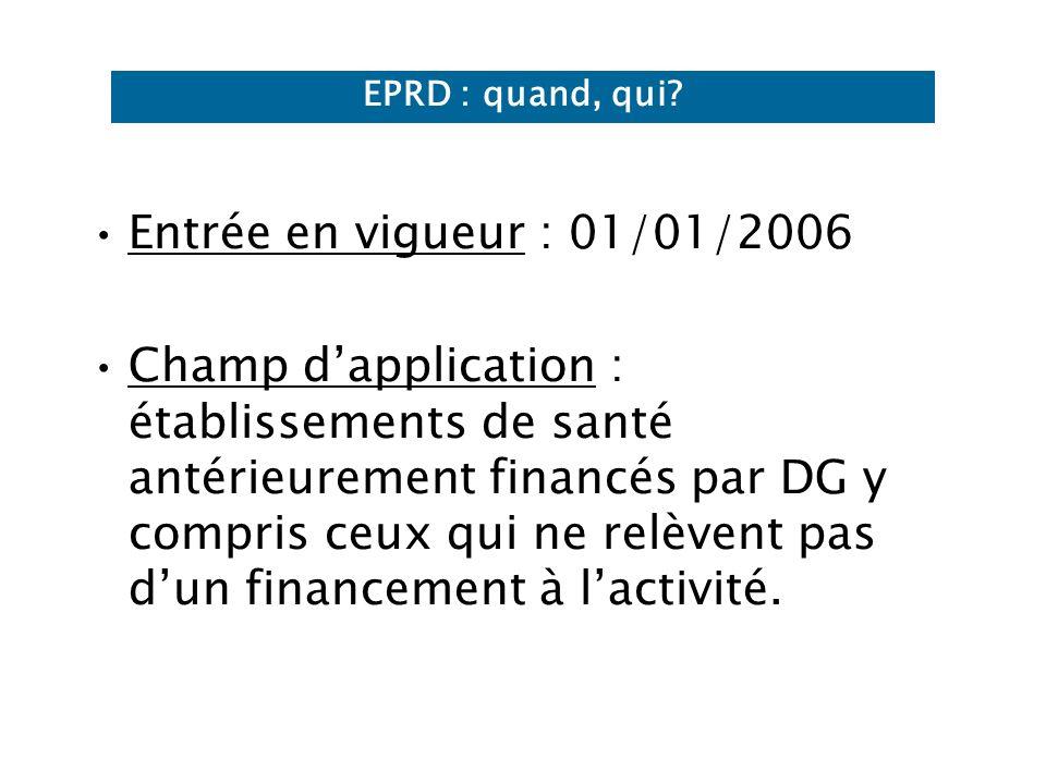 Entrée en vigueur : 01/01/2006 Champ dapplication : établissements de santé antérieurement financés par DG y compris ceux qui ne relèvent pas dun financement à lactivité.