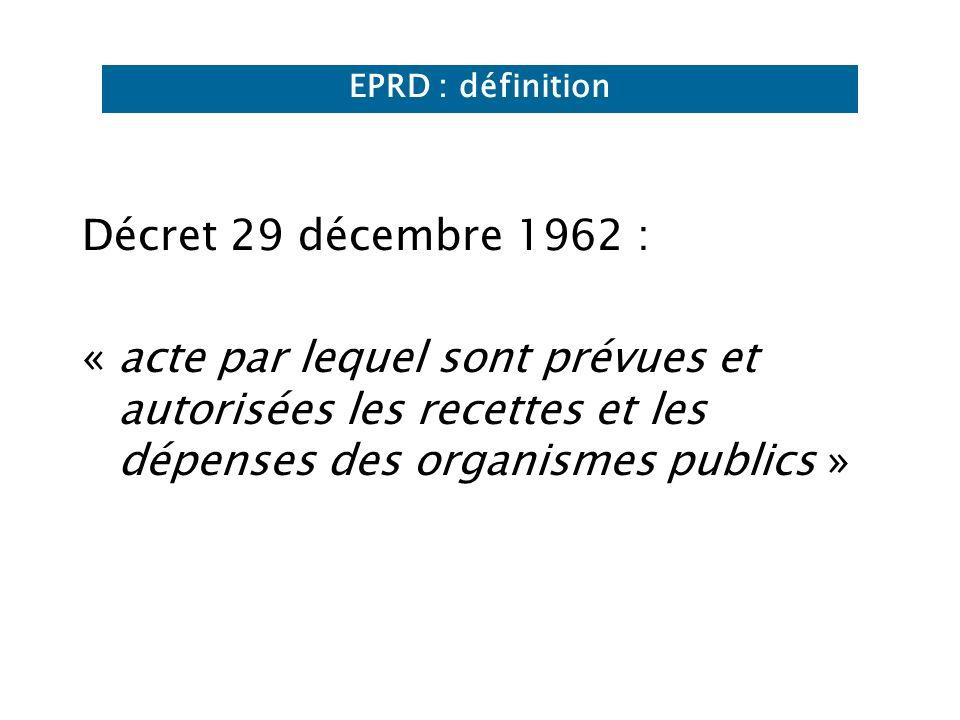 Décret 29 décembre 1962 : « acte par lequel sont prévues et autorisées les recettes et les dépenses des organismes publics » EPRD : définition