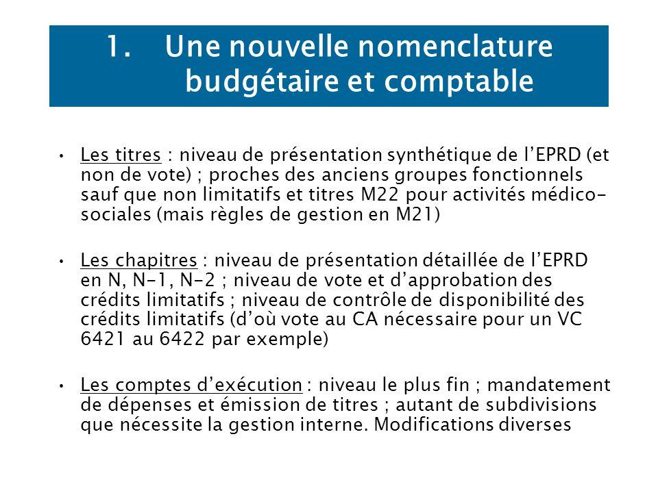 1.Une nouvelle nomenclature budgétaire et comptable Les titres : niveau de présentation synthétique de lEPRD (et non de vote) ; proches des anciens gr