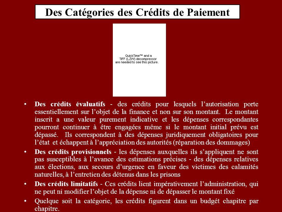 Des Catégories des Crédits de Paiement Des crédits évaluatifs - des crédits pour lesquels lautorisation porte essentiellement sur lobjet de la finance et non sur son montant.
