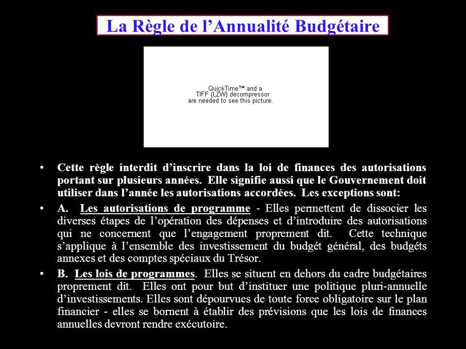 La Règle de lAnnualité Budgétaire Cette règle interdit dinscrire dans la loi de finances des autorisations portant sur plusieurs années.
