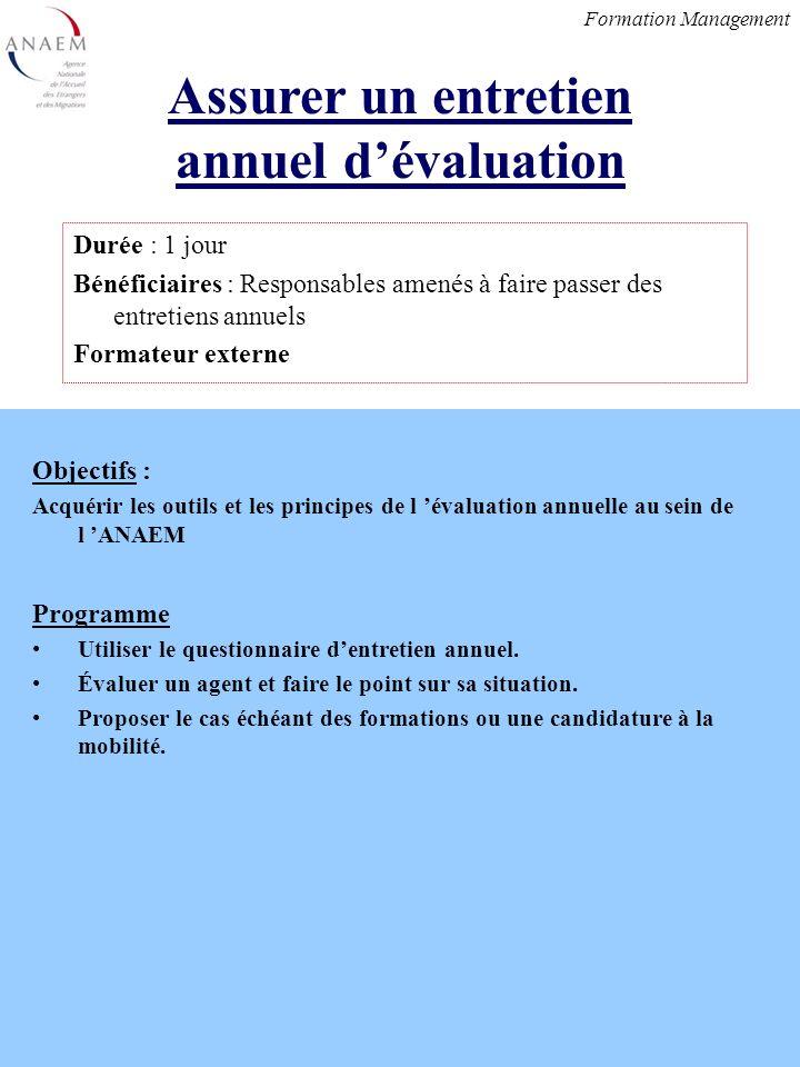 Objectifs : Acquérir les outils et les principes de l évaluation annuelle au sein de l ANAEM Programme Utiliser le questionnaire dentretien annuel.