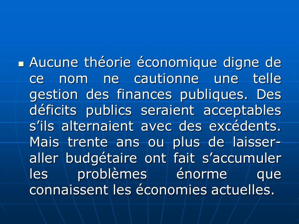 Aucune théorie économique digne de ce nom ne cautionne une telle gestion des finances publiques. Des déficits publics seraient acceptables sils altern