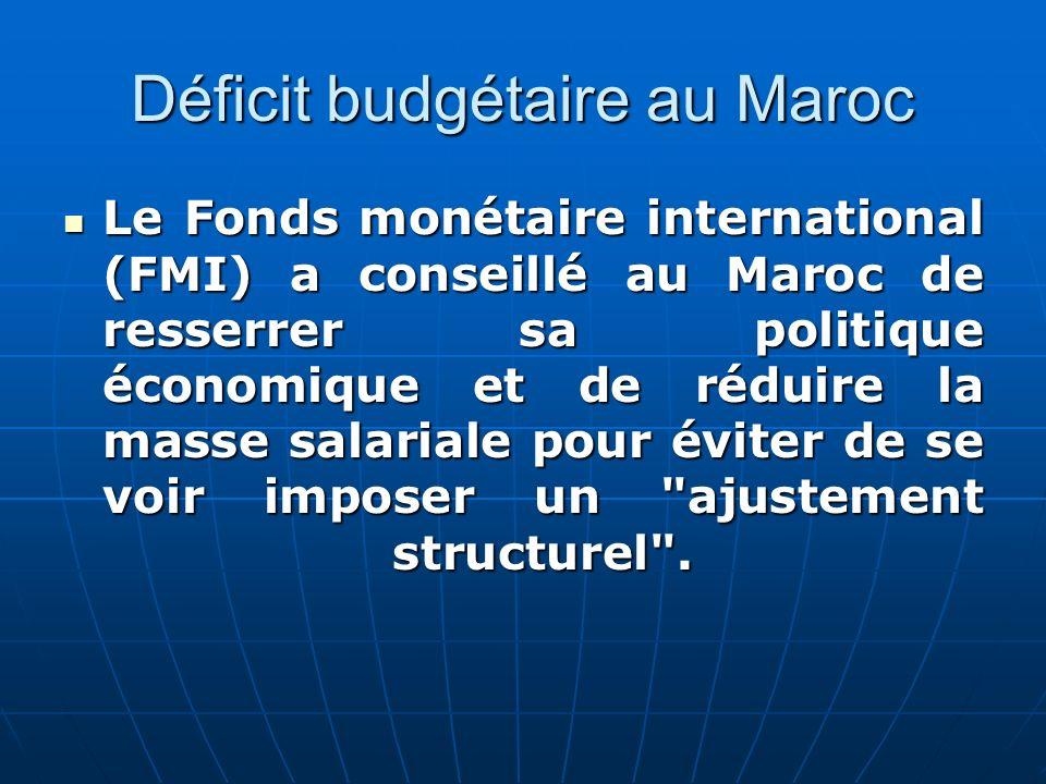 Déficit budgétaire au Maroc Le Fonds monétaire international (FMI) a conseillé au Maroc de resserrer sa politique économique et de réduire la masse sa