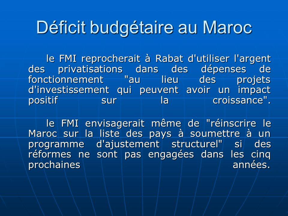 Déficit budgétaire au Maroc le FMI reprocherait à Rabat d'utiliser l'argent des privatisations dans des dépenses de fonctionnement