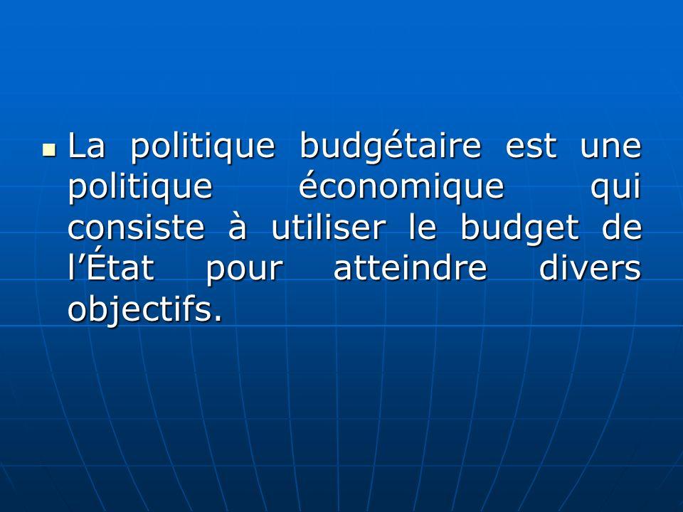 La politique budgétaire est une politique économique qui consiste à utiliser le budget de lÉtat pour atteindre divers objectifs. La politique budgétai