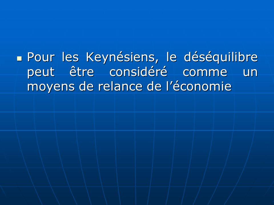 Pour les Keynésiens, le déséquilibre peut être considéré comme un moyens de relance de léconomie Pour les Keynésiens, le déséquilibre peut être consid