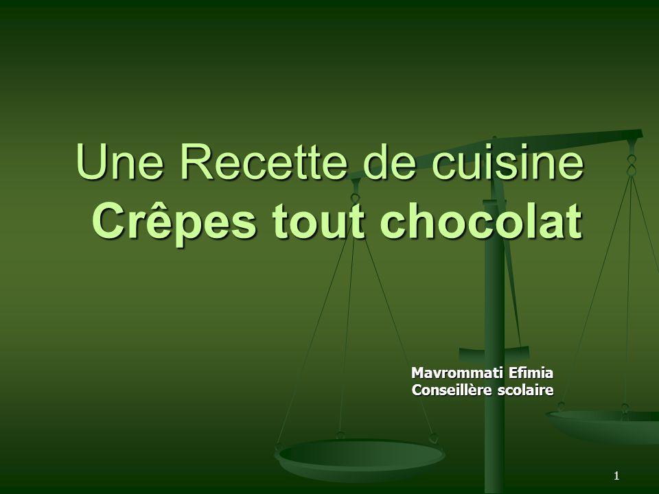 1 Une Recette de cuisine Crêpes tout chocolat Mavrommati Efimia Conseillère scolaire
