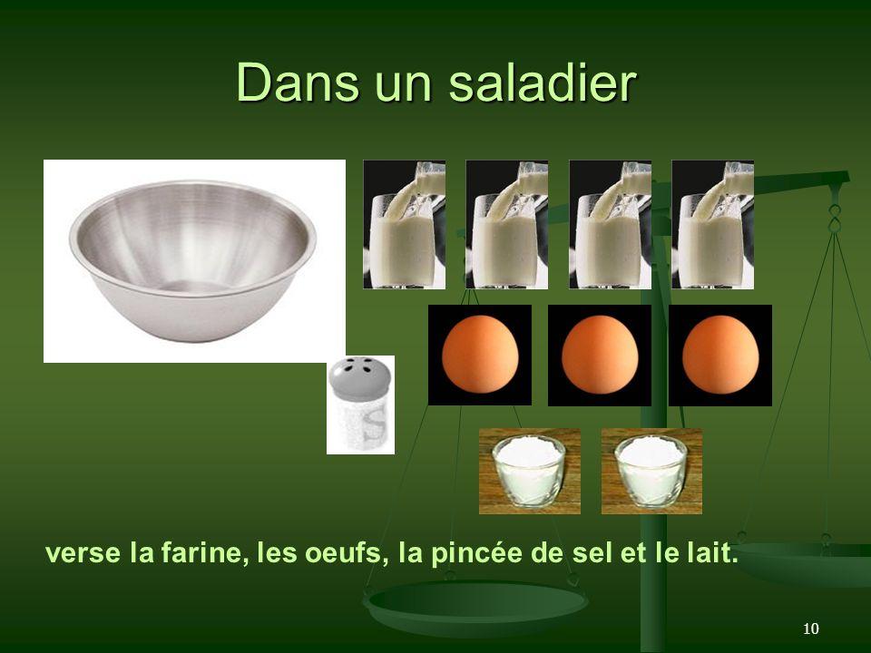 10 Dans un saladier verse la farine, les oeufs, la pincée de sel et le lait.