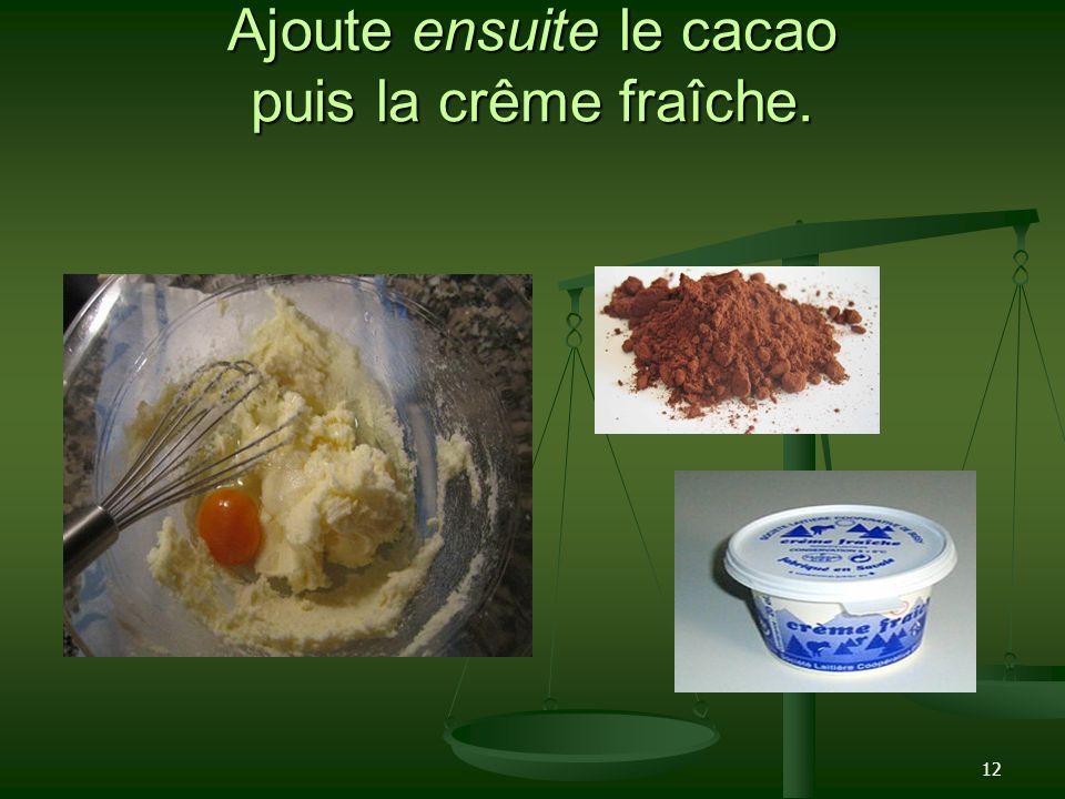 12 Ajoute ensuite le cacao puis la crême fraîche.