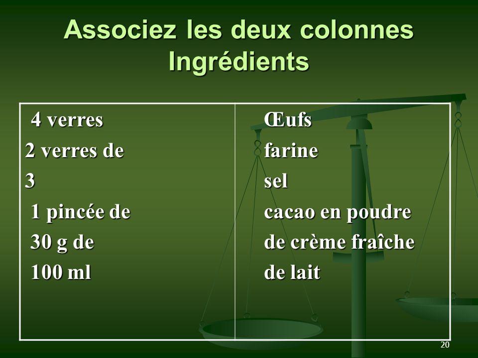 20 Associez les deux colonnes Ingrédients 4 verres 4 verres 2 verres de 3 1 pincée de 1 pincée de 30 g de 30 g de 100 ml 100 mlŒufsfarinesel cacao en