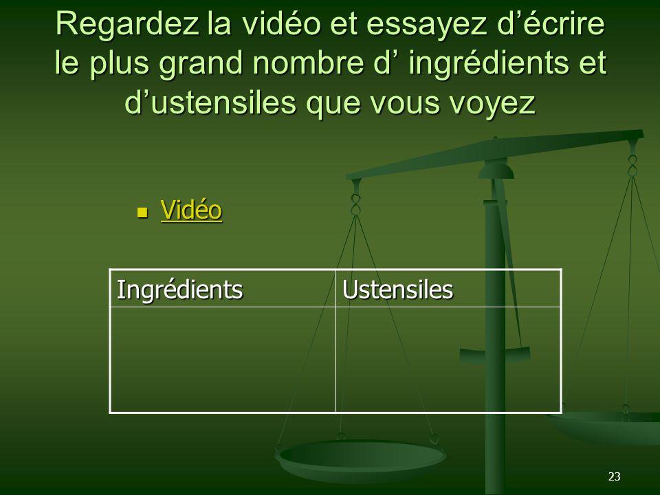 23 Regardez la vidéo et essayez décrire le plus grand nombre d ingrédients et dustensiles que vous voyez Vidéo Vidéo Vidéo IngrédientsUstensiles