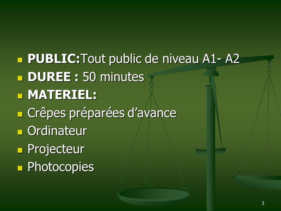 3 PUBLIC:Tout public de niveau A1- A2 PUBLIC:Tout public de niveau A1- A2 DUREE : 50 minutes DUREE : 50 minutes MATERIEL: MATERIEL: Crêpes préparées d
