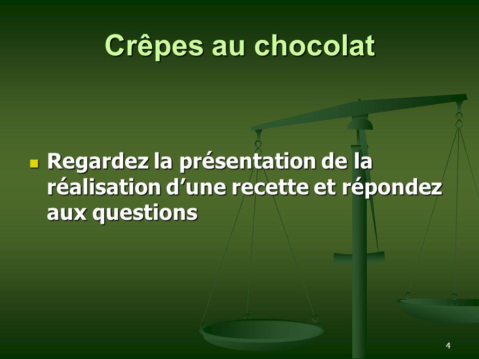4 Crêpes au chocolat Regardez la présentation de la réalisation dune recette et répondez aux questions Regardez la présentation de la réalisation dune