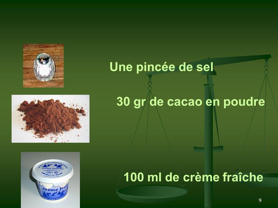 9 Une pincée de sel 30 gr de cacao en poudre 100 ml de crème fraîche