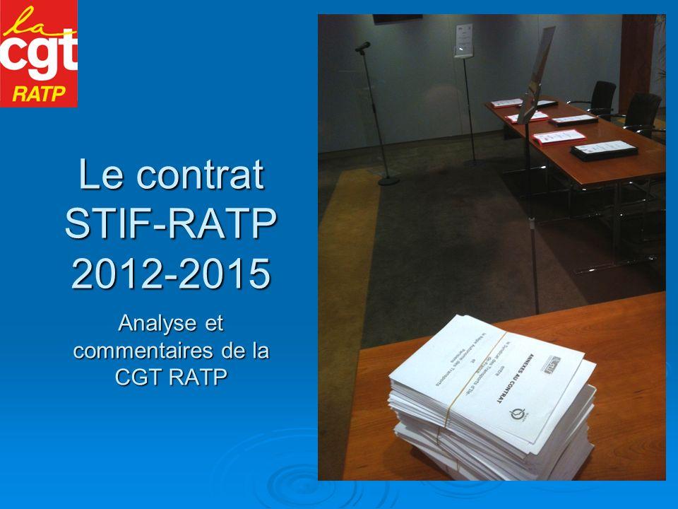 Le contrat STIF-RATP 2012-2015 Analyse et commentaires de la CGT RATP