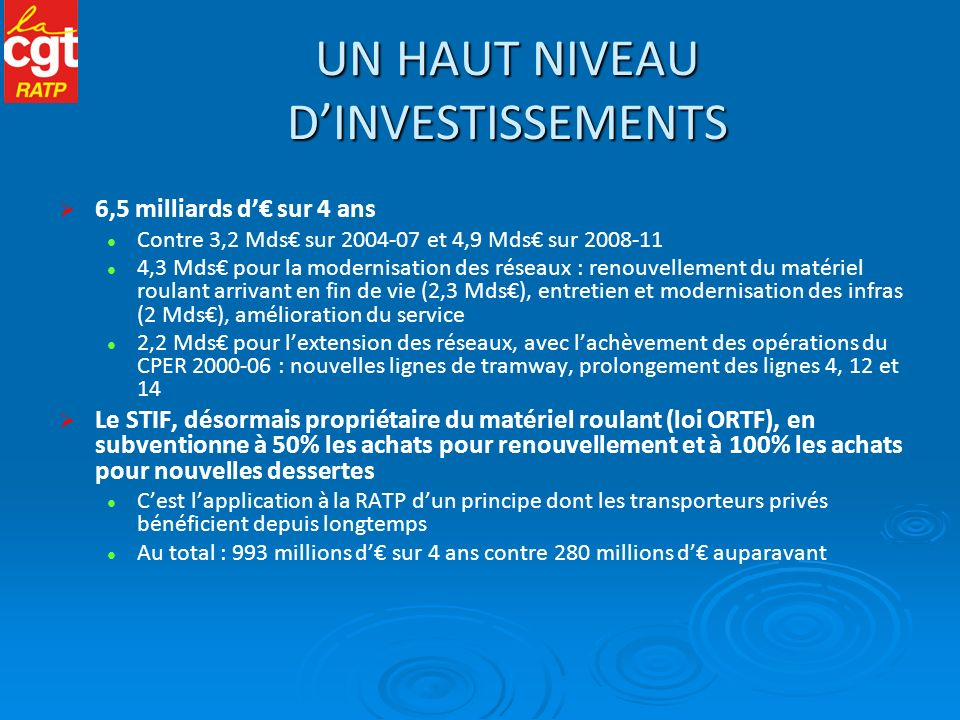 LA MAQUETTE FINANCIÈRE DU CONTRAT Un objectif de recettes directes du trafic qui reste très optimiste + 0,8% en 2012 ; + 1,4% en 2015 Un principe-pivot du contrat : la stabilisation de la dette de la RATP 5,2 milliards d (2,7 Mds sur le GI + 2,5 Mds sur lOT) Cette dette provient du désengagement de lEtat quand il dirigeait le STP La RATP a supporté seule une grande partie du développement des réseaux Obligation pour elle de sendetter pour cela sur les marchés financiers Le STIF augmente largement sa contribution aux investissements, mais réduit celle aux dépenses de fonctionnement 160 millions d en moins sur 4 ans La RATP comble cette différence par une productivité additionnelle de 0,5% servant au financement de sa dette Soit au total 1% de productivité prévus dans la construction du contrat LEtat propriétaire : le grand absent Il ne réclame pas dimpôt sur les sociétés, ni de dividendes à la RATP avant 2016.