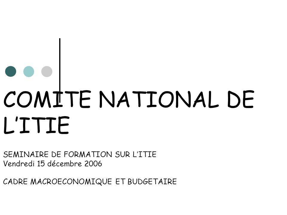 COMITE NATIONAL DE LITIE SEMINAIRE DE FORMATION SUR LITIE Vendredi 15 décembre 2006 CADRE MACROECONOMIQUE ET BUDGETAIRE