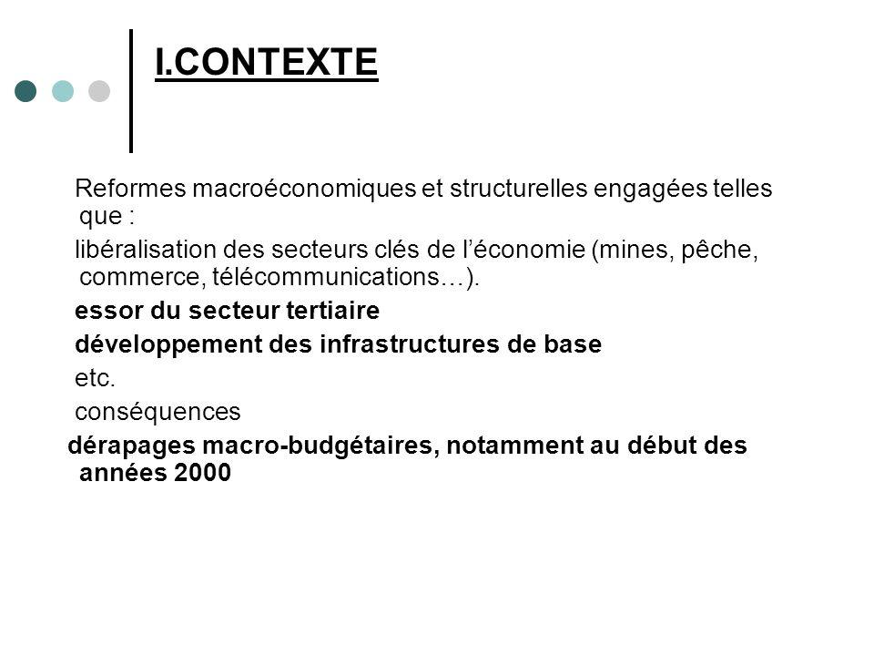 I.CONTEXTE Reformes macroéconomiques et structurelles engagées telles que : libéralisation des secteurs clés de léconomie (mines, pêche, commerce, télécommunications…).