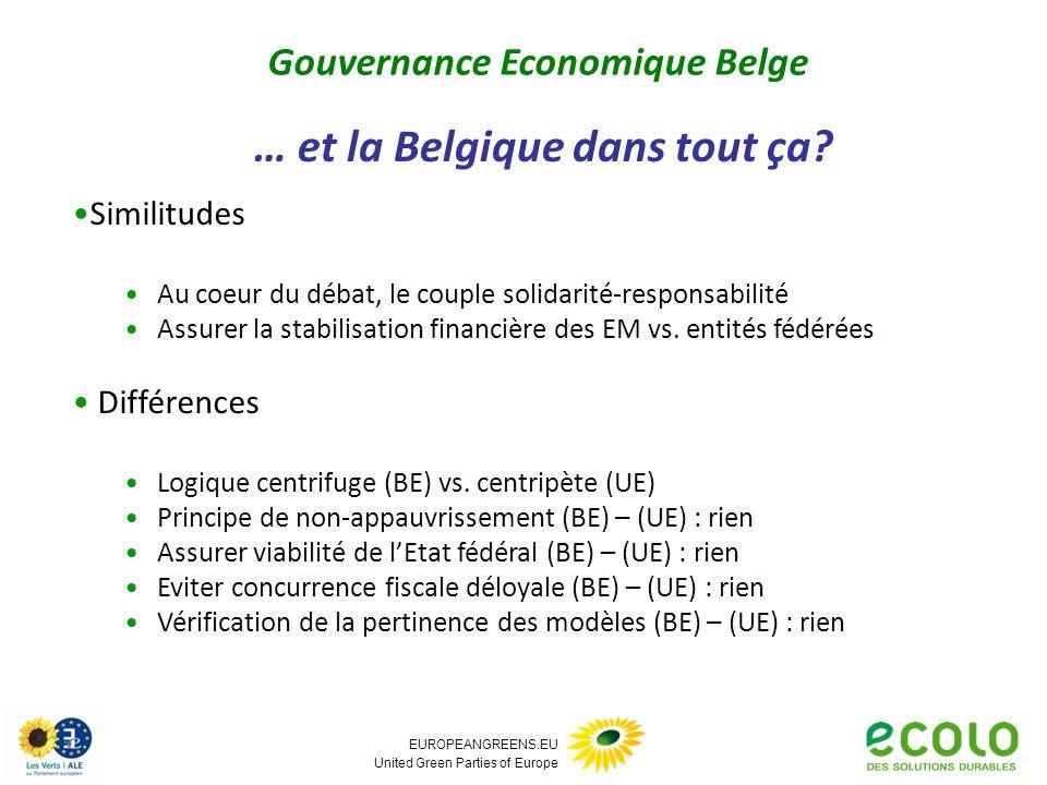 EUROPEANGREENS.EU United Green Parties of Europe Similitudes Au coeur du débat, le couple solidarité-responsabilité Assurer la stabilisation financière des EM vs.
