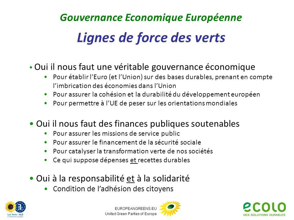 EUROPEANGREENS.EU United Green Parties of Europe Lignes de force des verts Gouvernance Economique Européenne Oui il nous faut une véritable gouvernanc