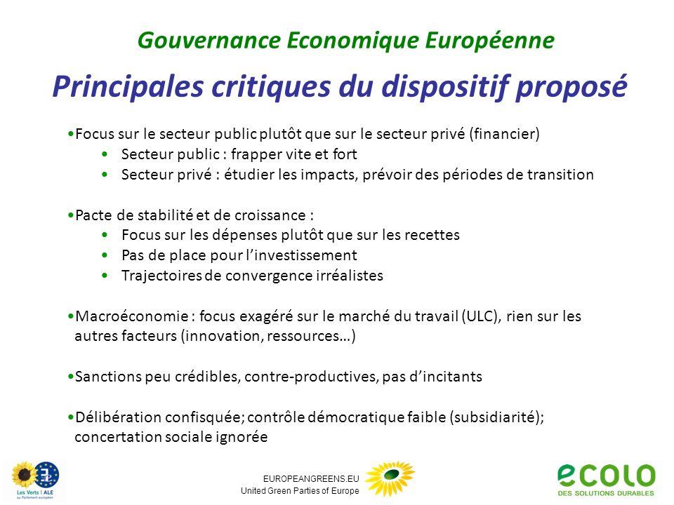 EUROPEANGREENS.EU United Green Parties of Europe Principales critiques du dispositif proposé Gouvernance Economique Européenne Focus sur le secteur pu