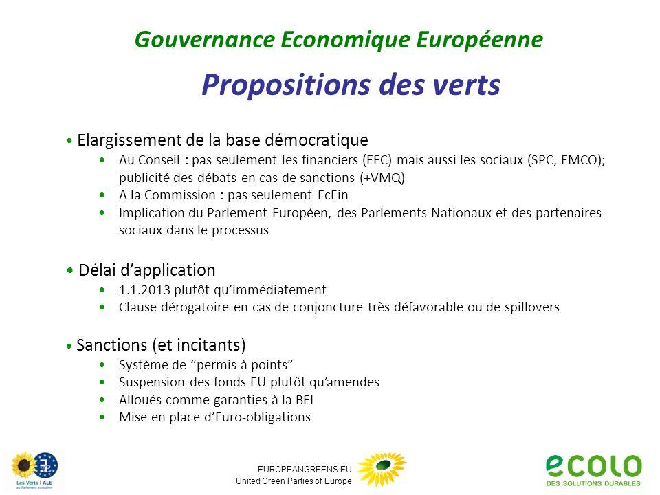 EUROPEANGREENS.EU United Green Parties of Europe Propositions des verts Gouvernance Economique Européenne Elargissement de la base démocratique Au Con