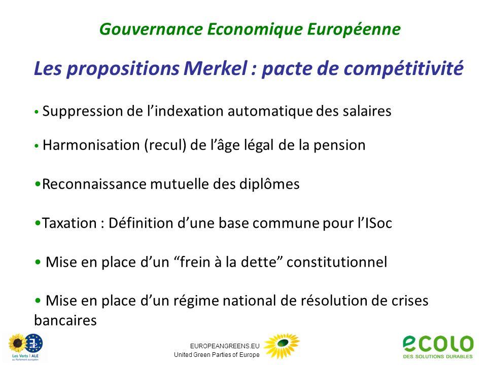 EUROPEANGREENS.EU United Green Parties of Europe Les propositions Merkel : pacte de compétitivité Gouvernance Economique Européenne Suppression de lin