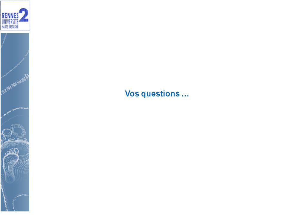 Vos questions …