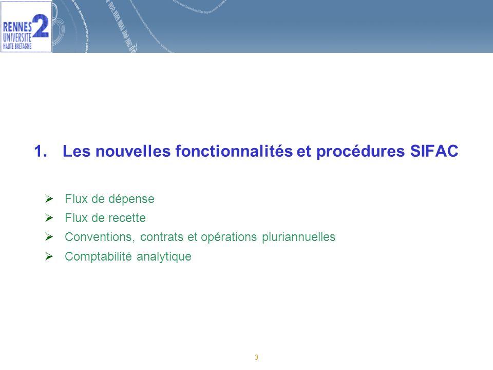 3 1.Les nouvelles fonctionnalités et procédures SIFAC Flux de dépense Flux de recette Conventions, contrats et opérations pluriannuelles Comptabilité analytique