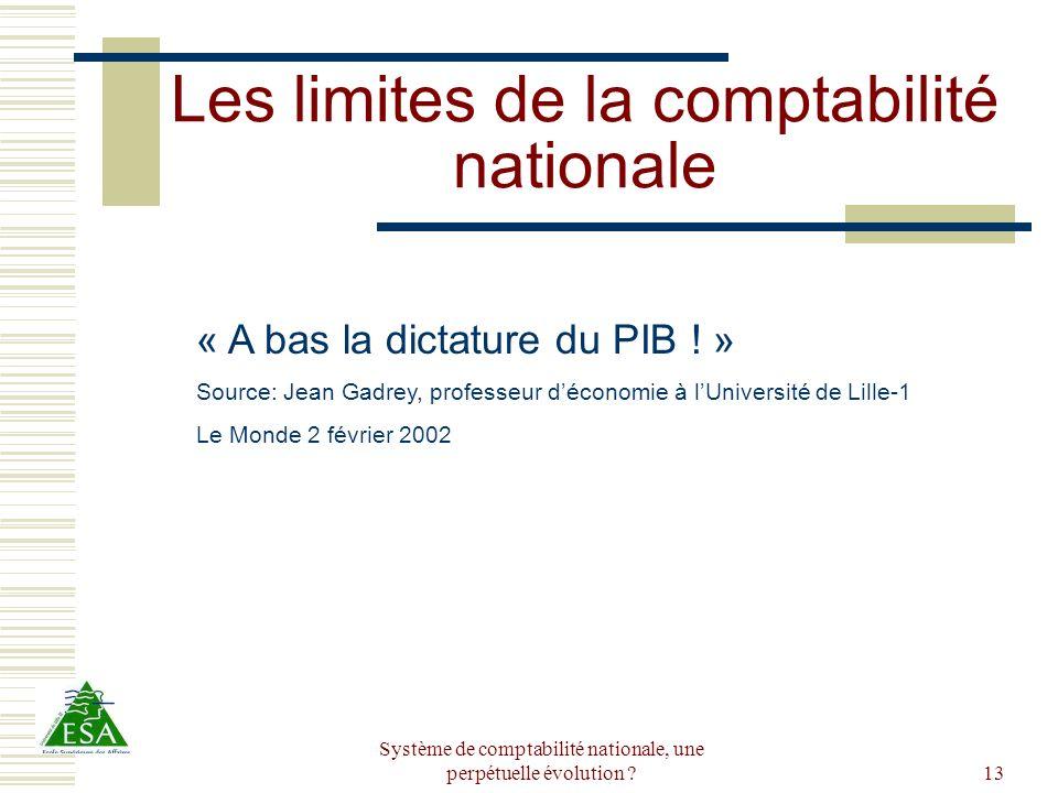 Système de comptabilité nationale, une perpétuelle évolution ?13 Les limites de la comptabilité nationale « A bas la dictature du PIB ! » Source: Jean