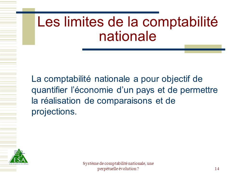 Système de comptabilité nationale, une perpétuelle évolution ?14 Les limites de la comptabilité nationale La comptabilité nationale a pour objectif de
